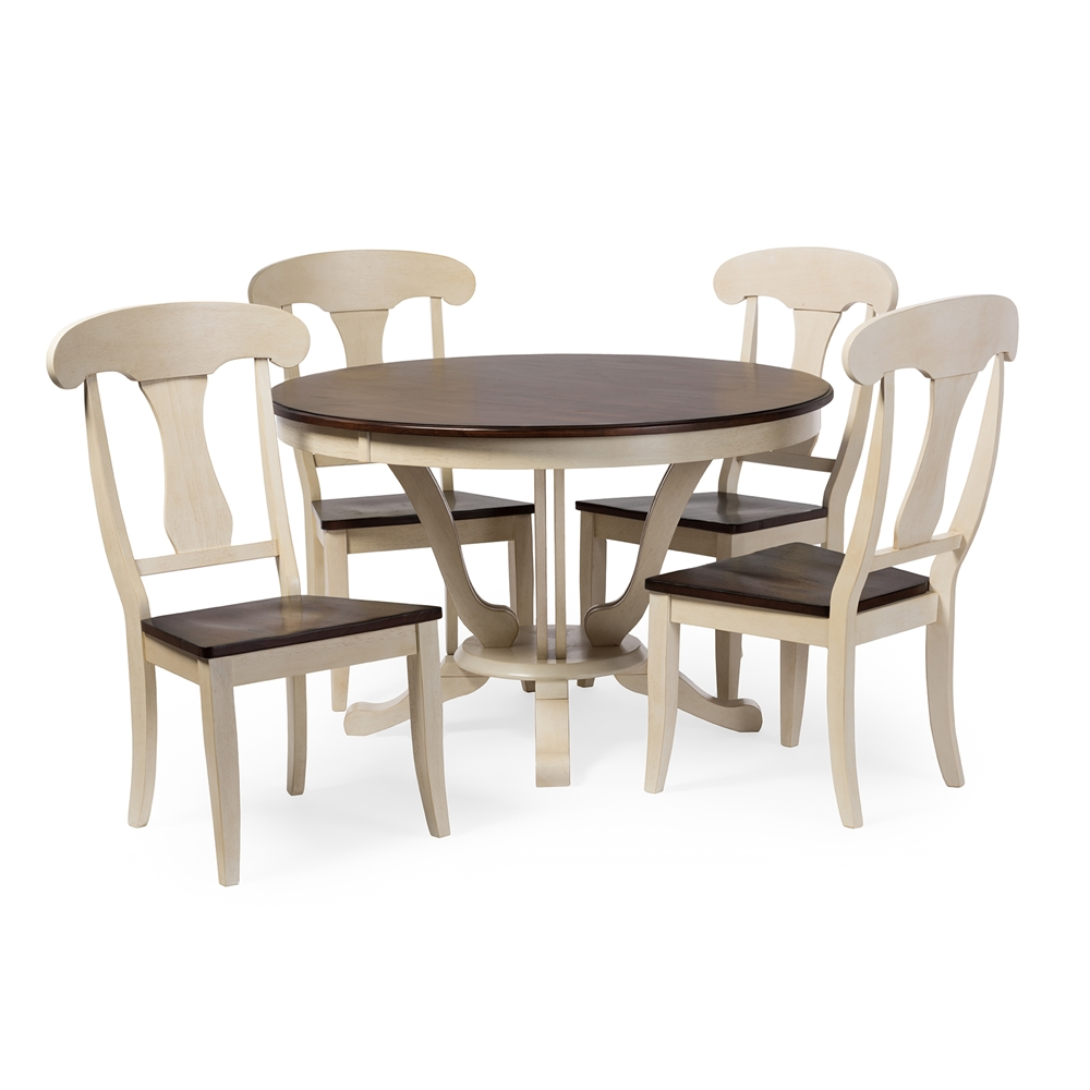 Baxton Studio Napoleon Chic Country Cottage Antique Oak Wood And Distressed White 5 Piece Dining