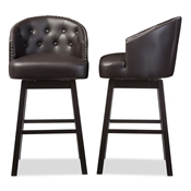 Baxton Studio Avril Modern and Contemporary Brown Faux Leather Tufted Swivel Barstool with Nail heads Trim Baxton Studio restaurant furniture, hotel furniture, commercial furniture, wholesale bar furniture, wholesale bar stools, classic bar stools