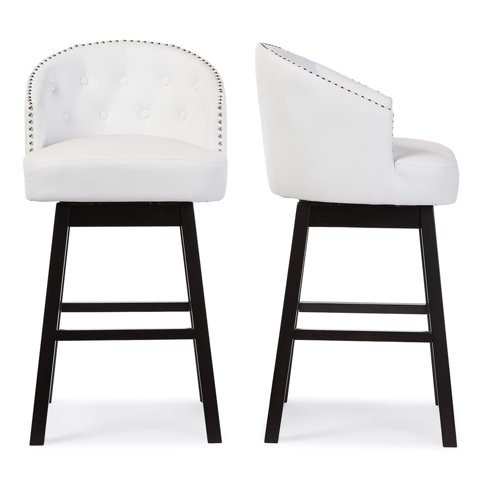 Baxton Studio Avril Modern And Contemporary White Faux Leather Tufted Swivel Barstool With Nail Heads Trim