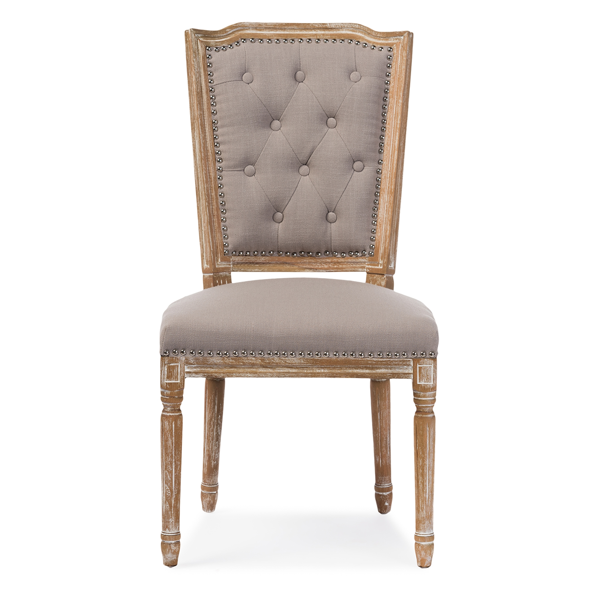 ... Room Furniture U003e Wholesale Dining Chairs U003e. Baxton Studio Estelle Chic  Rustic French Country Cottage Weathered Oak Beige Fabric Button Tufted ...