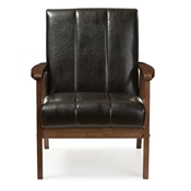 Baxton Studio Nikko Mid-century Modern Scandinavian Style Black Faux Leather Wooden Lounge Chair Baxton Studio restaurant furniture, hotel furniture, commercial furniture, wholesale living room furniture, wholesale chairs, wholesale accent chairs, classic accent chairs
