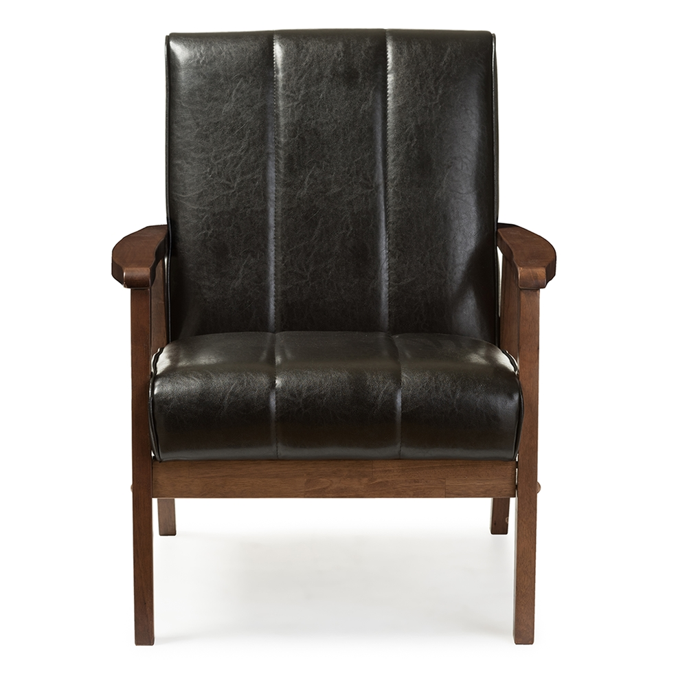 baxton studio nikko midcentury modern scandinavian style black fauxleather wooden lounge chair . wholesale accent chair  wholesale living room furniture