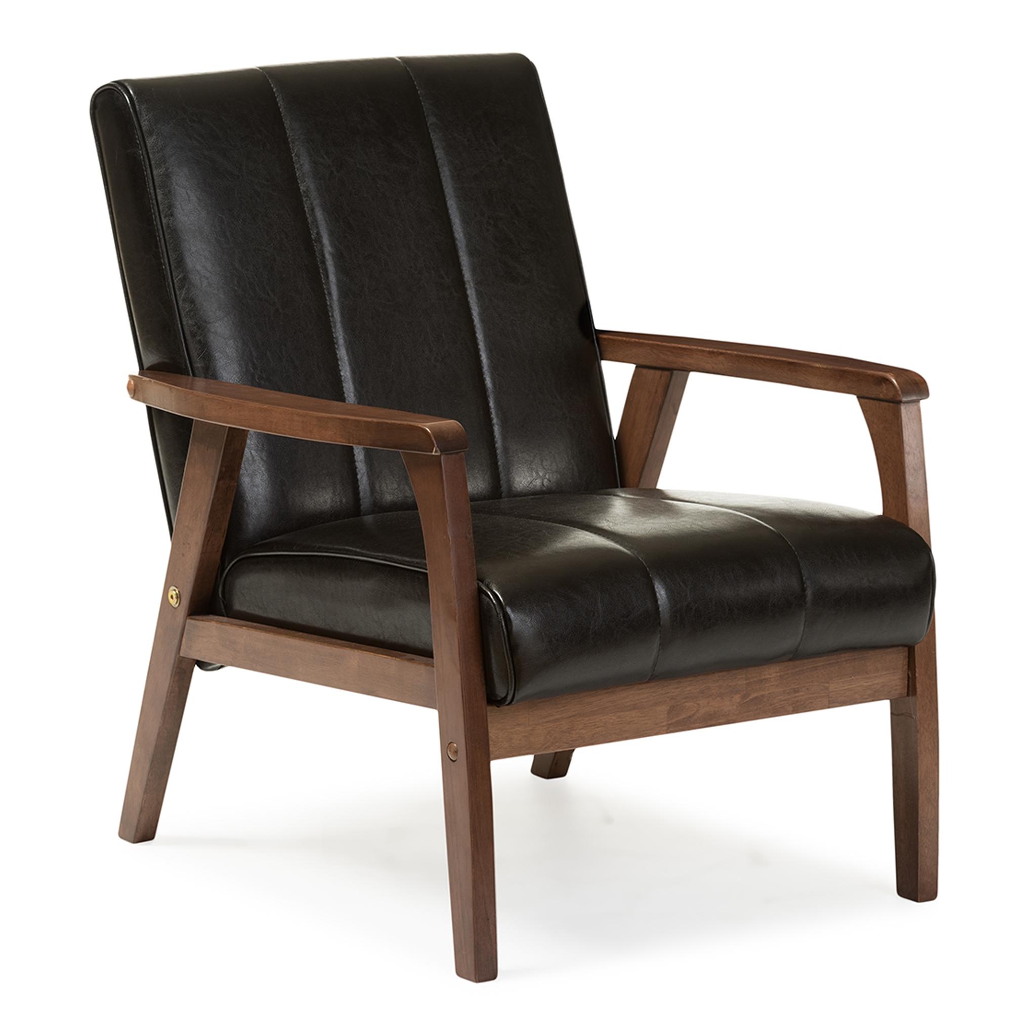 ... Baxton Studio Nikko Mid Century Modern Scandinavian Style Black Faux  Leather Wooden Lounge Chair ...