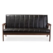 Baxton Studio Nikko Mid-century Modern Scandinavian Style Black Faux Leather Wooden 3-Seater Sofa Baxton Studio restaurant furniture, hotel furniture, commercial furniture, wholesale living room furniture, wholesale loveseats, classic sofas