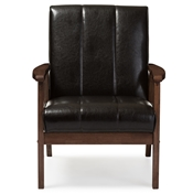 Baxton Studio Nikko Mid-century Modern Scandinavian Style Dark Brown Faux Leather Wooden Lounge Chair Baxton Studio restaurant furniture, hotel furniture, commercial furniture, wholesale living room furniture, wholesale chairs, wholesale accent chairs, classic accent chairs