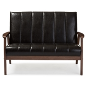 Baxton Studio Nikko Mid-century Modern Scandinavian Style Dark Brown Faux Leather Wooden 2-Seater Loveseat Baxton Studio restaurant furniture, hotel furniture, commercial furniture, wholesale living room furniture, wholesale loveseats, classic loveseats