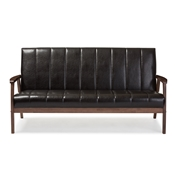 Baxton Studio Nikko Mid-century Modern Scandinavian Style Dark Brown Faux Leather Wooden 3-Seater Sofa Baxton Studio restaurant furniture, hotel furniture, commercial furniture, wholesale living room furniture, wholesale loveseats, classic sofas