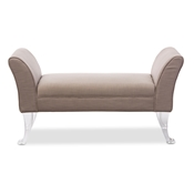 Baxton Studio Irwin Modern and Contemporary Beige Linen Upholstered Lux Flared Arms Ottoman Bench with Flared Acrylic Legs Baxton Studio restaurant furniture, hotel furniture, commercial furniture, wholesale living room furniture, wholesale ottomans, classic standard ottomans, cheap ottomans
