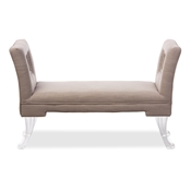 Baxton Studio Bessie Modern and Contemporary Beige Linen Upholstered Lux Flared Arms Ottoman Bench with Flared Acrylic Legs Baxton Studio restaurant furniture, hotel furniture, commercial furniture, wholesale living room furniture, wholesale ottomans, classic standard ottomans, cheap ottomans