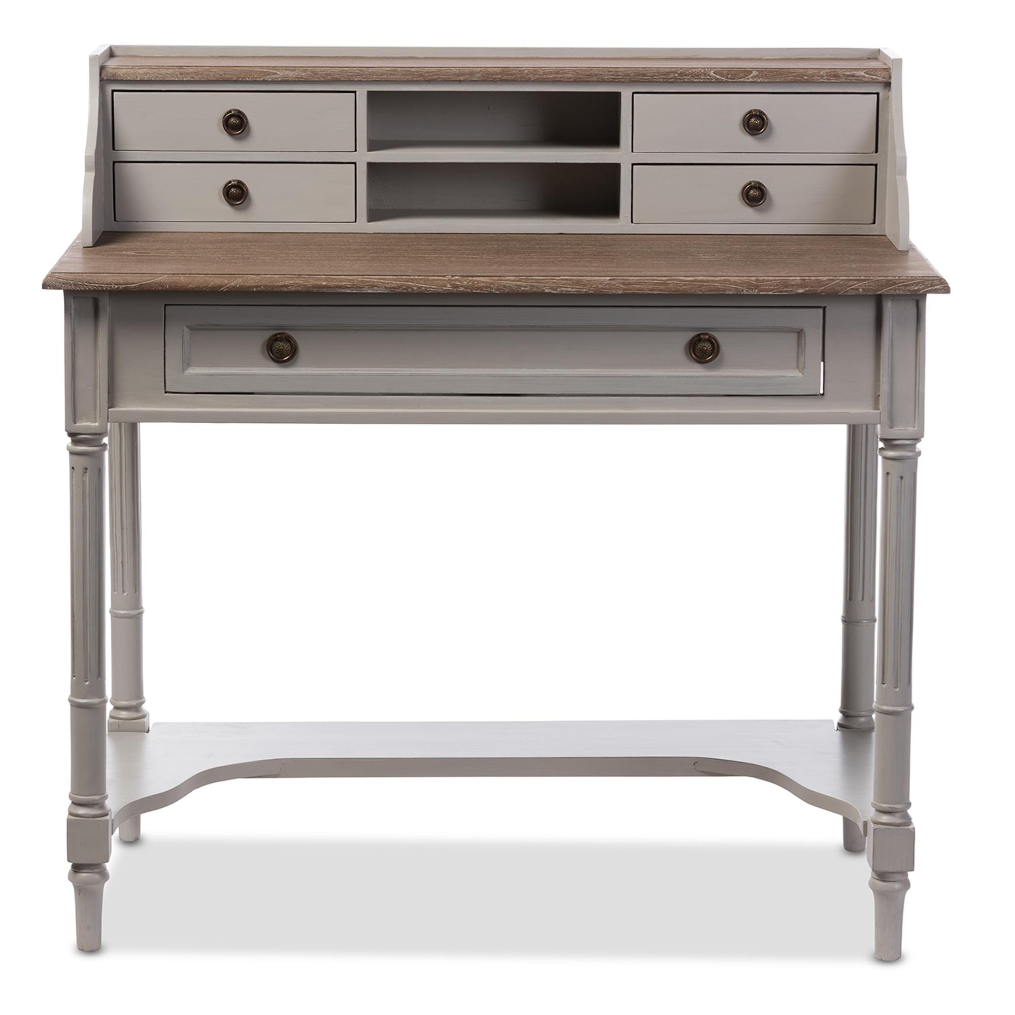 Baxton Studio Edouard French Provincial Style White Wash Distressed  Two Tone Writing Desk   EDD3VM ...