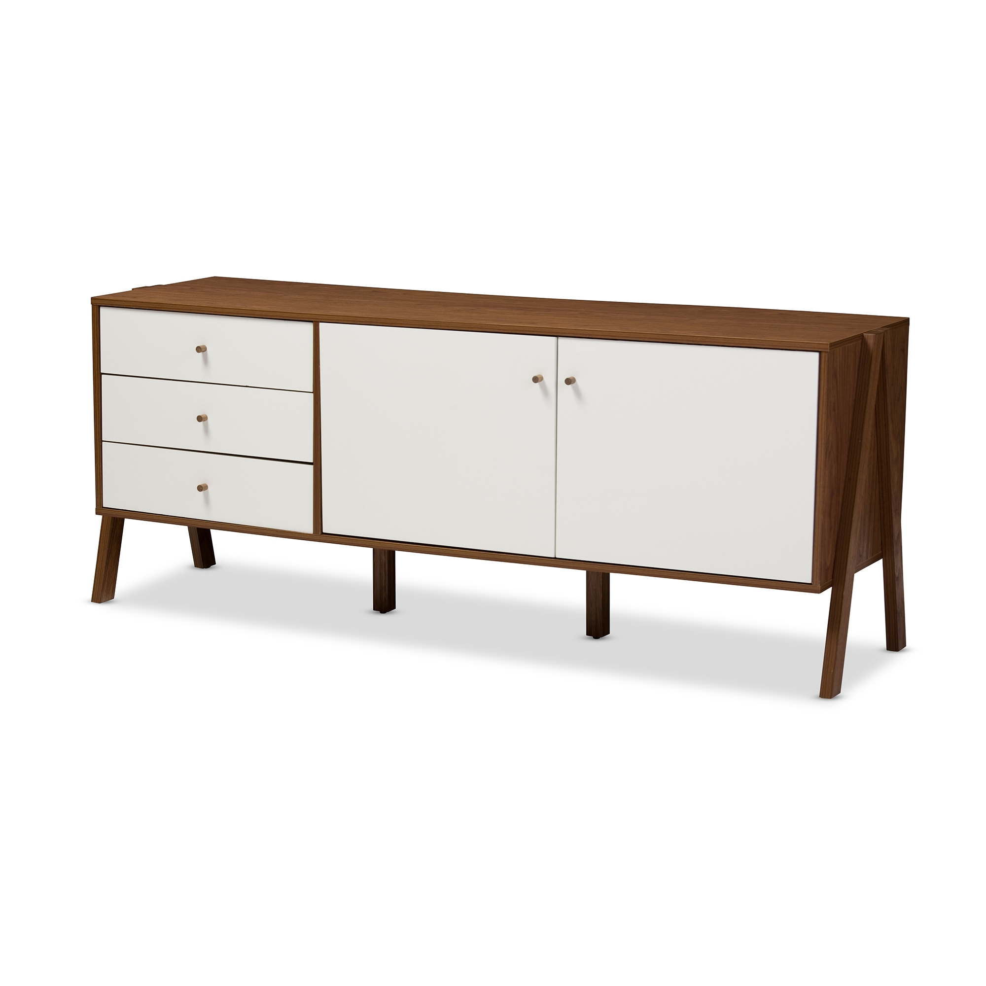 ... Baxton Studio Harlow Mid-century Modern Scandinavian Style White and Walnut Wood Sideboard Storage Cabinet ...  sc 1 st  Wholesale Interiors & Wholesale Buffets and Sideboards | Wholesale Dining Room Furniture ...
