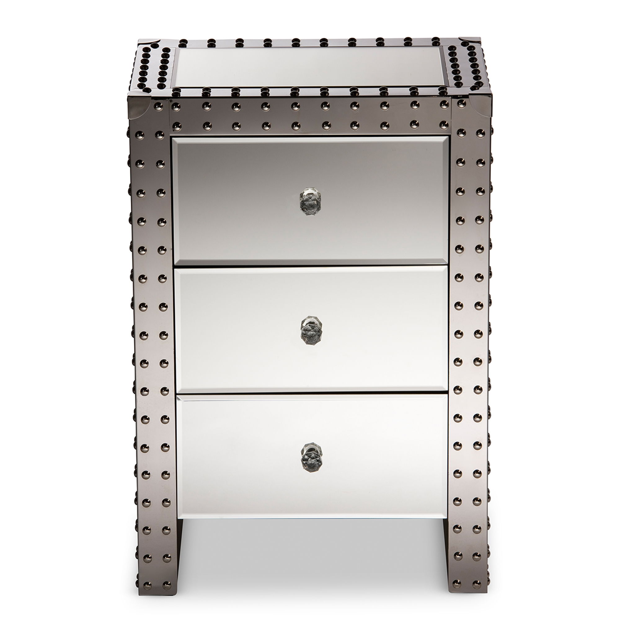 Baxton Studio Azura Modern And Contemporary Hollywood Regency Glamour Style  Nightstand Bedside Table   LD2470 ...