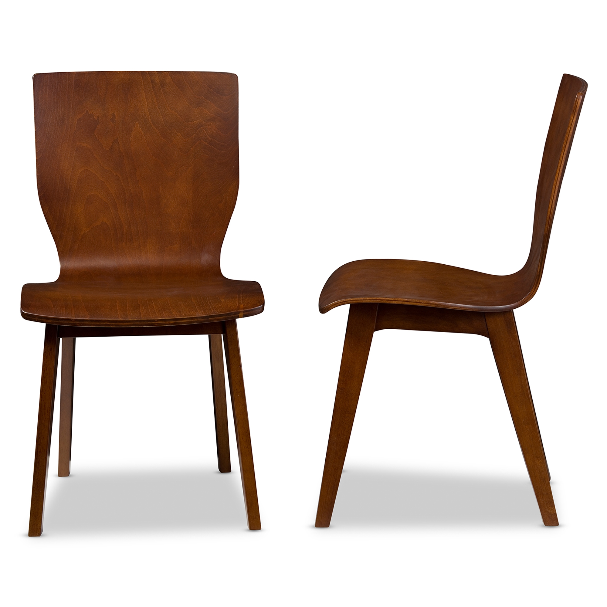 Baxton Studio Elsa Mid Century Modern Scandinavian Style Dark Walnut Bent  Wood Dining Chair ...