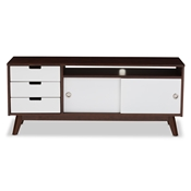 Baxton Studio Alphard Mid-century Modern Dark Walnut and White Two-tone Finish Wood TV Cabinet Baxton Studio restaurant furniture, hotel furniture, commercial furniture, wholesale living room furniture, wholesale entertainmnet centers, wholesale TV stands, classic TV stands, cheap TV stands