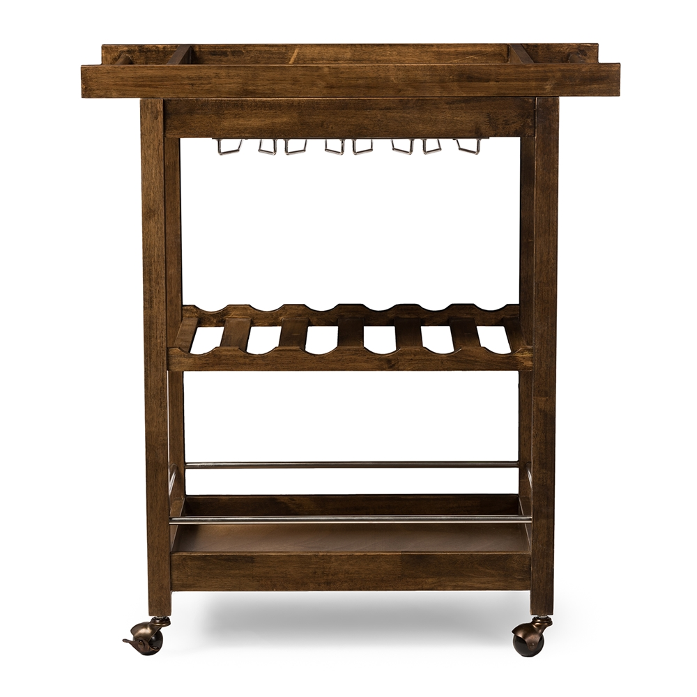 baxton studio hannah brown finish rubberwood serving bar cart with built in wine rack and - Dining Room Serving Carts