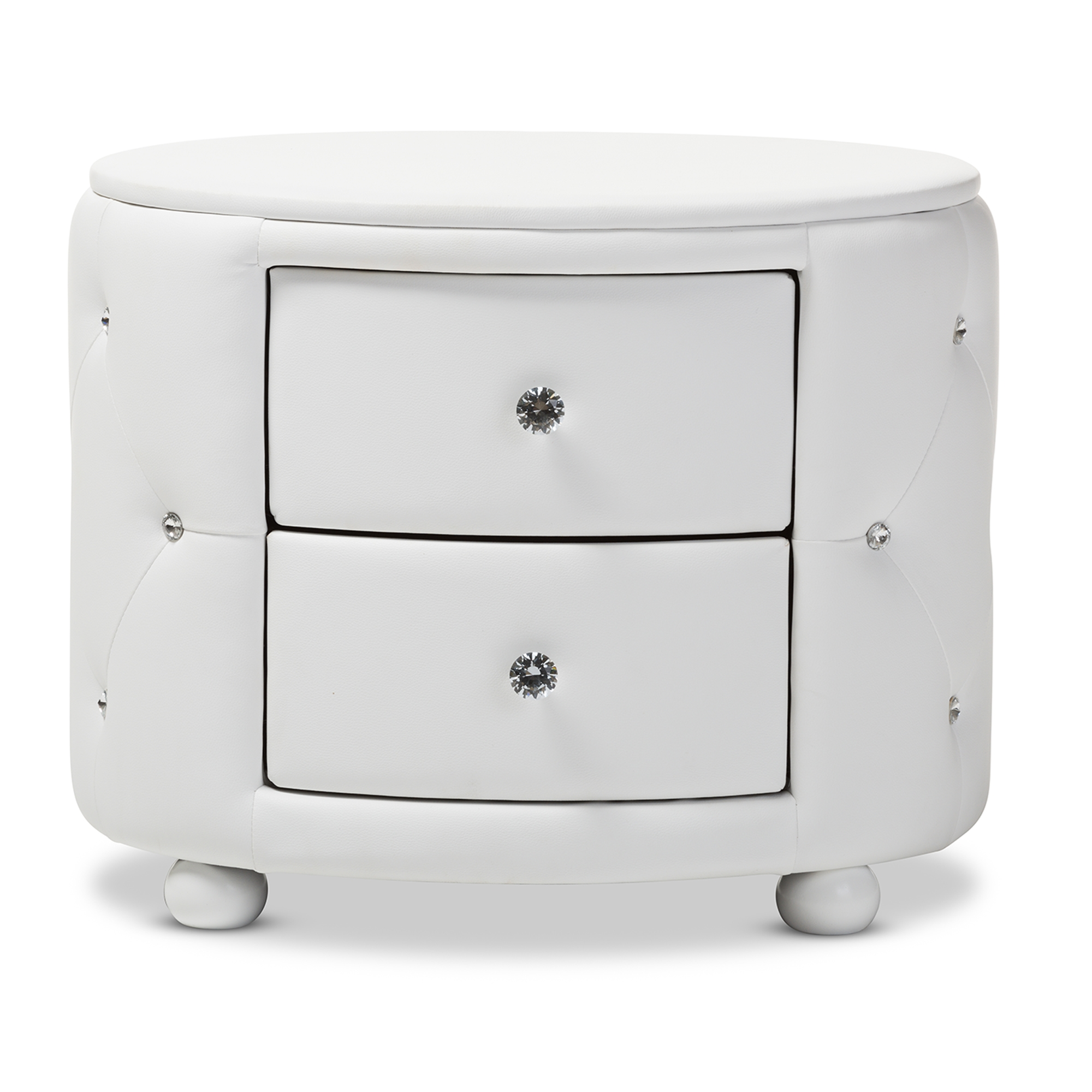 ... Bedroom Furniture U003e Wholesale Night Stands U003e. Baxton Studio Davina  Hollywood Glamour Style Oval 2 Drawer White Faux Leather Upholstered  Nightstand ...