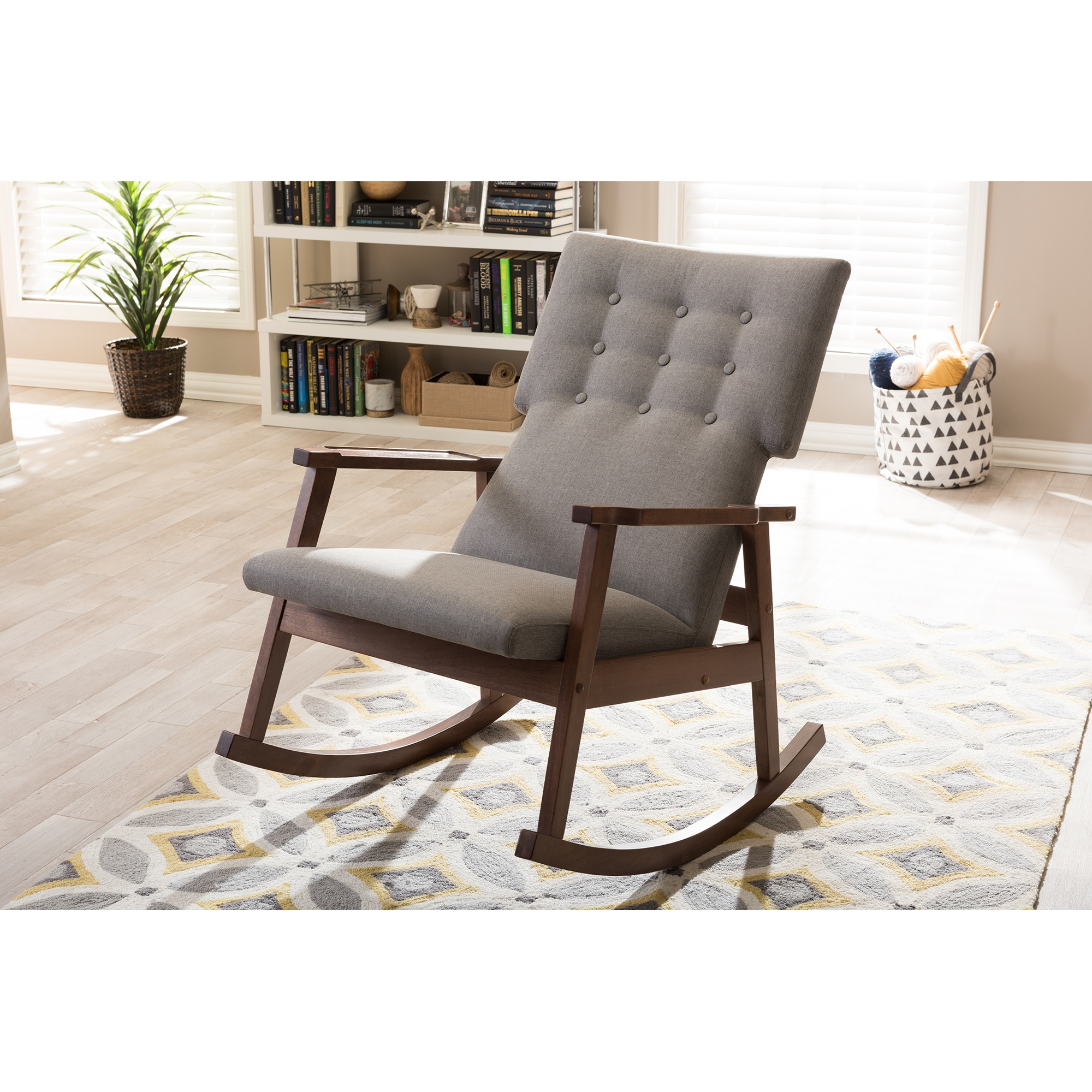 ... Baxton Studio Agatha Mid Century Modern Grey Fabric Upholstered  Button Tufted Rocking Chair