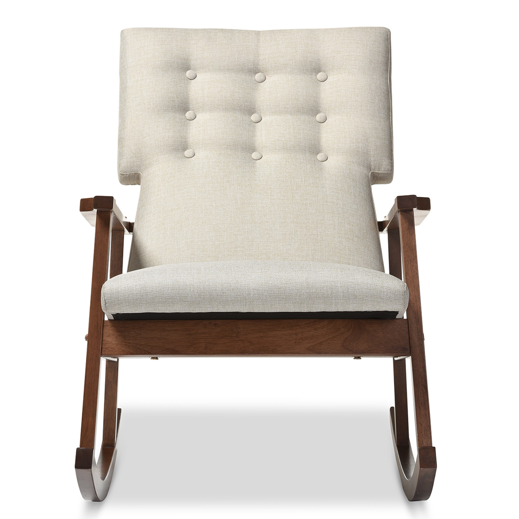 Baxton Studio Agatha Mid Century Modern Light Beige Fabric Upholstered  Button Tufted Rocking Chair ...