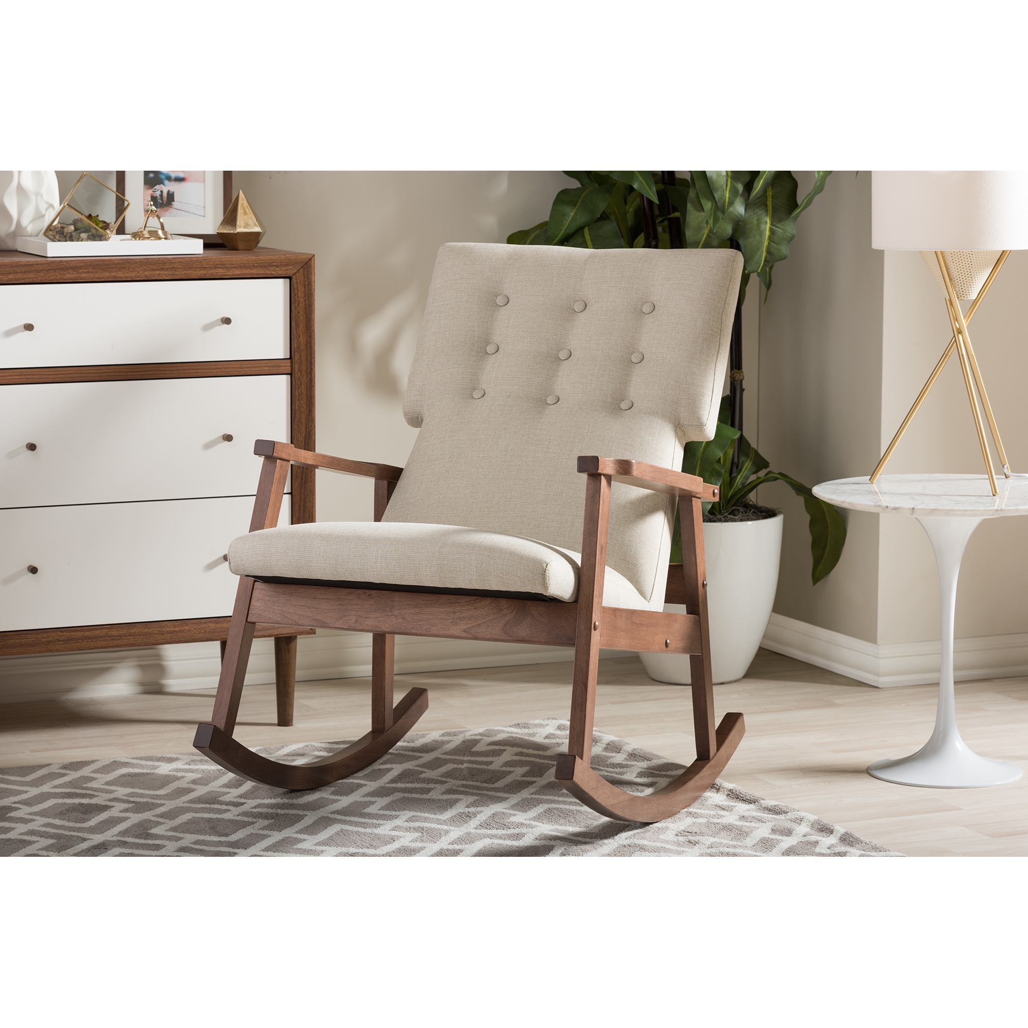 ... Baxton Studio Agatha Mid Century Modern Light Beige Fabric Upholstered  Button Tufted Rocking Chair