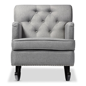 Baxton Studio Bethany Modern and Contemporary Grey Fabric Upholstered Button-tufted Rocking Chair Baxton Studio restaurant furniture, hotel furniture, commercial furniture, wholesale living room furniture, wholesale chairs, wholesale rocking chairs, classic rocking chairs