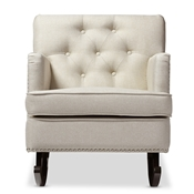 Baxton Studio Bethany Modern and Contemporary Light Beige Fabric Upholstered Button-tufted Rocking Chair Baxton Studio restaurant furniture, hotel furniture, commercial furniture, wholesale living room furniture, wholesale chairs, wholesale rocking chairs, classic rocking chairs