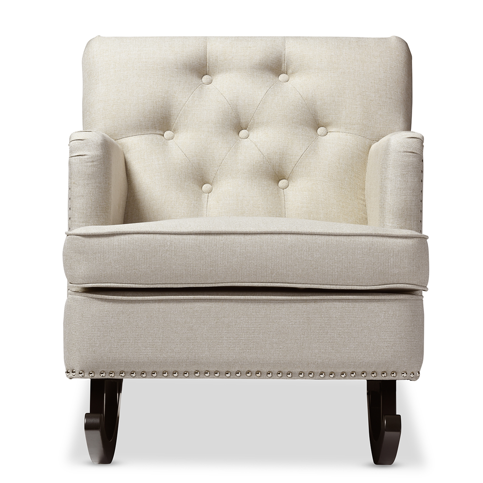 Baxton Studio Bethany Modern And Contemporary Light Beige Fabric  Upholstered Button Tufted Rocking Chair ...
