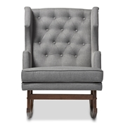 Baxton Studio Iona Mid-century Retro Modern Grey Fabric Upholstered Button-tufted Wingback Rocking Chair Baxton Studio restaurant furniture, hotel furniture, commercial furniture, wholesale living room furniture, wholesale chairs, wholesale rocking chairs, classic rocking chairs