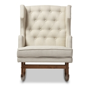 Baxton Studio Iona Mid-century Retro Modern Light Beige Fabric Upholstered Button-tufted Wingback Rocking Chair Baxton Studio restaurant furniture, hotel furniture, commercial furniture, wholesale living room furniture, wholesale chairs, wholesale rocking chairs, classic rocking chairs