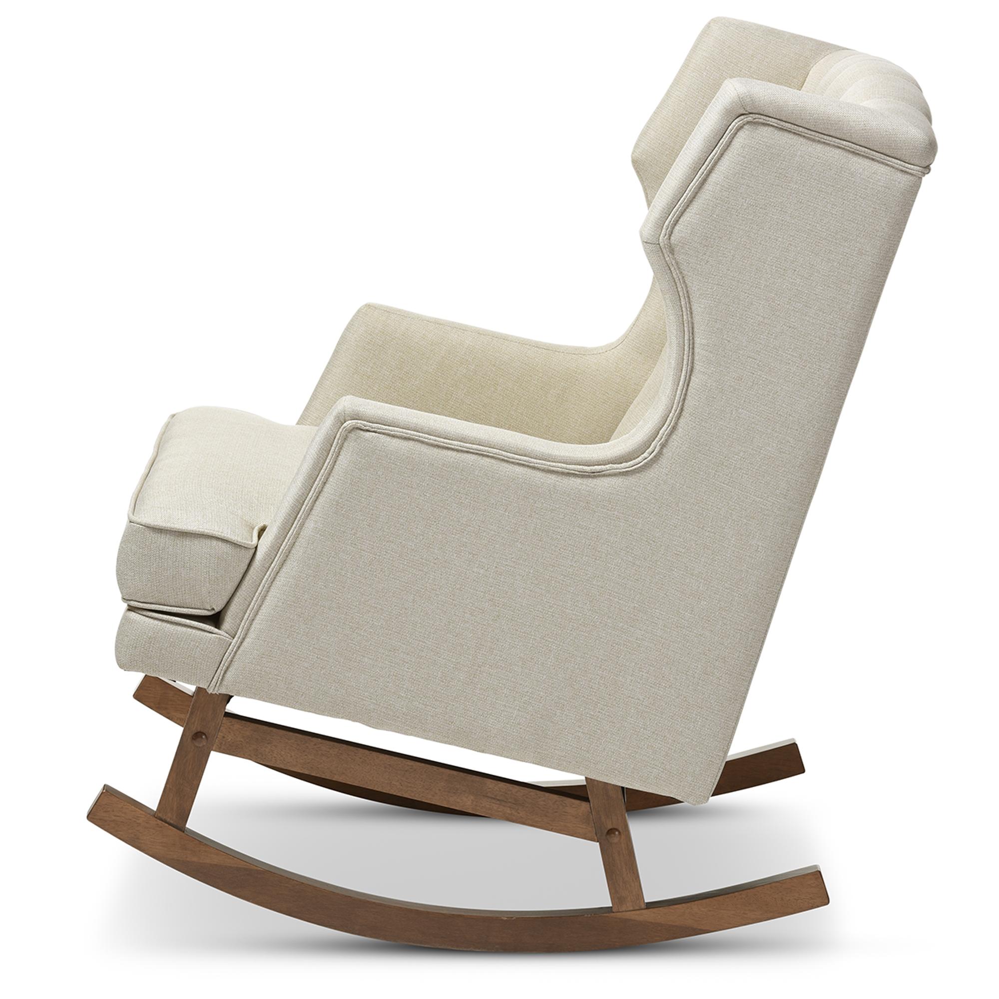 ... Baxton Studio Iona Mid Century Retro Modern Light Beige Fabric  Upholstered Button Tufted Wingback ...