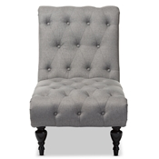 Baxton Studio Layla Mid-century Retro Modern Grey Fabric Upholstered Button-tufted Chaise Lounge Baxton Studio restaurant furniture, hotel furniture, commercial furniture, wholesale living room furniture, wholesale chairs, wholesale chaise lounges, classic chaise lounges