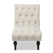 Baxton Studio Layla Mid-century Modern Light Beige Fabric Upholstered Button-tufted Chaise Lounge Baxton Studio restaurant furniture, hotel furniture, commercial furniture, wholesale living room furniture, wholesale chairs, wholesale chaise Lounges, classic chaise lounges