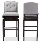 Baxton Studio Ginaro Modern and Contemporary Grey Fabric Button-tufted Upholstered Swivel Bar Stool (Set of 2) Baxton Studio restaurant furniture, hotel furniture, commercial furniture, wholesale bar furniture, wholesale bar stools, classic bar stools