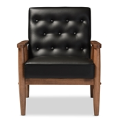 Baxton Studio Sorrento Mid-century Retro Modern Black Faux Leather Upholstered Wooden Lounge Chair Baxton Studio restaurant furniture, hotel furniture, commercial furniture, wholesale living room furniture, wholesale chairs, wholesale rocking chairs, classic rocking chairs