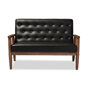 Baxton Studio Sorrento Mid-century Retro Modern Black Faux Leather Upholstered Wooden 2-seater Loveseat Baxton Studio restaurant furniture, hotel furniture, commercial furniture, wholesale living room furniture, wholesale loveseats, classic loveseats
