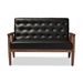 Baxton Studio Sorrento Mid-century Retro Modern Black Faux Leather Upholstered Wooden 2-seater Loveseat - BBT8013-Black Loveseat