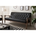 Baxton Studio Sorrento Mid-century Retro Modern Black Faux Leather Upholstered Wooden 3-seater Sofa - BBT8013-Black Sofa