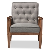 Baxton Studio Sorrento Mid-century Retro Modern Grey Fabric Upholstered Wooden Lounge Chair Baxton Studio restaurant furniture, hotel furniture, commercial furniture, wholesale living room furniture, wholesale chairs, wholesale accent chairs, classic accent chairs