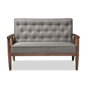 Baxton Studio Sorrento Mid-century Retro Modern Grey Fabric Upholstered Wooden 2-seater Loveseat Baxton Studio restaurant furniture, hotel furniture, commercial furniture, wholesale living room furniture, wholesale loveseats, classic loveseats