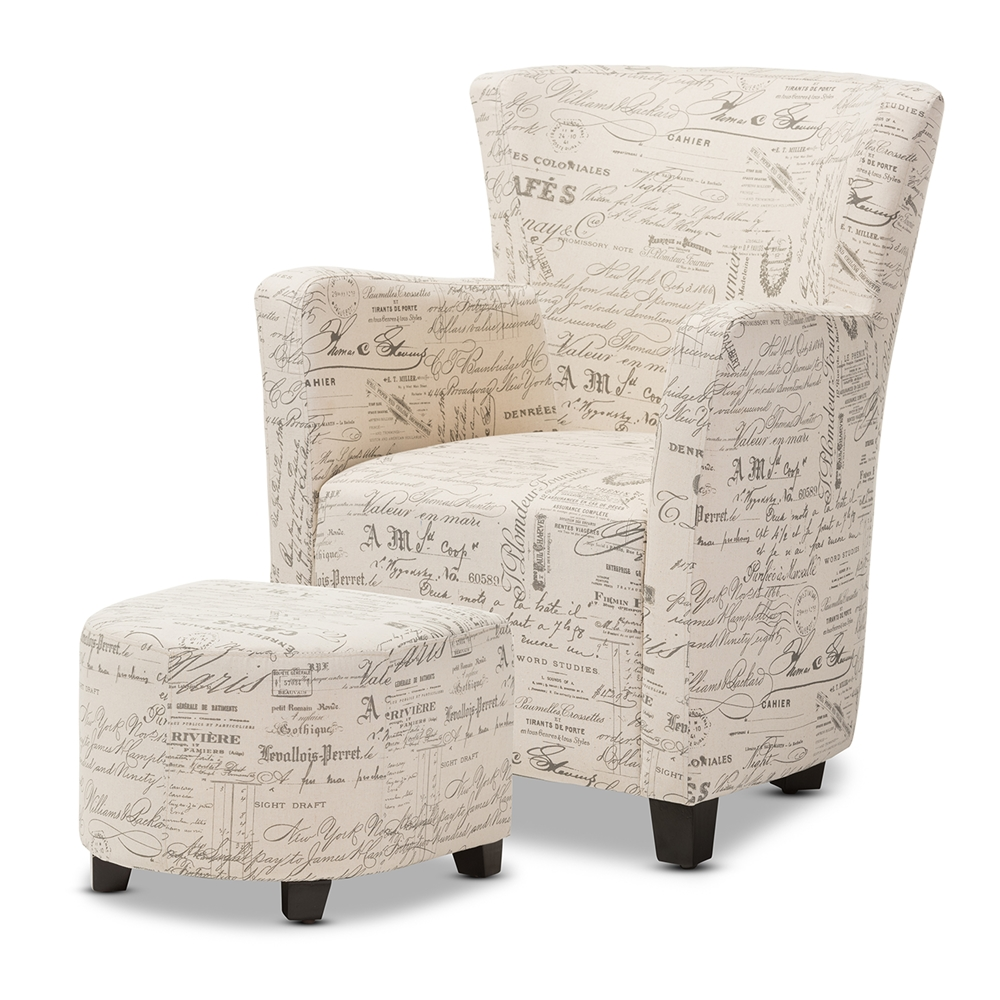 Baxton studio benson french script patterned fabric club chair and ottoman set ws 0710