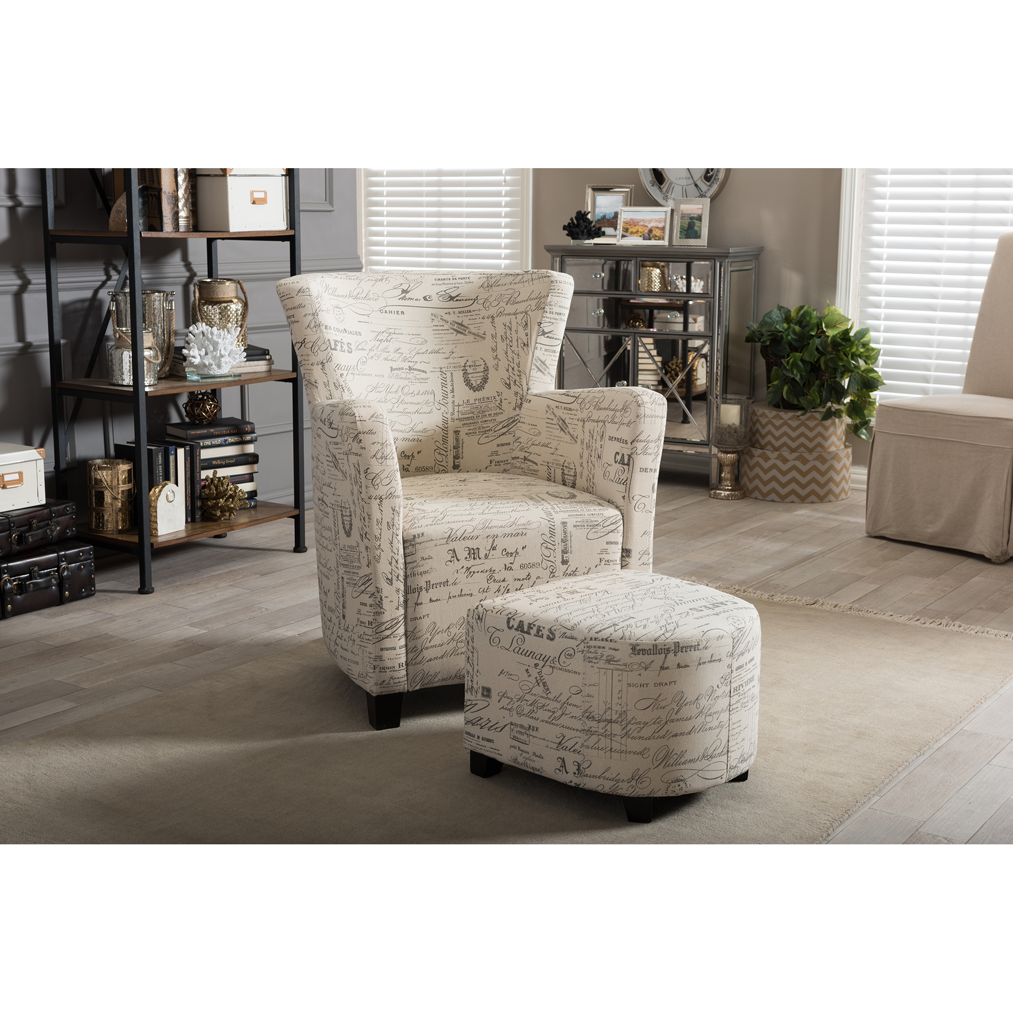 baxton studio benson french script patterned fabric club chair and ottoman set ws0710