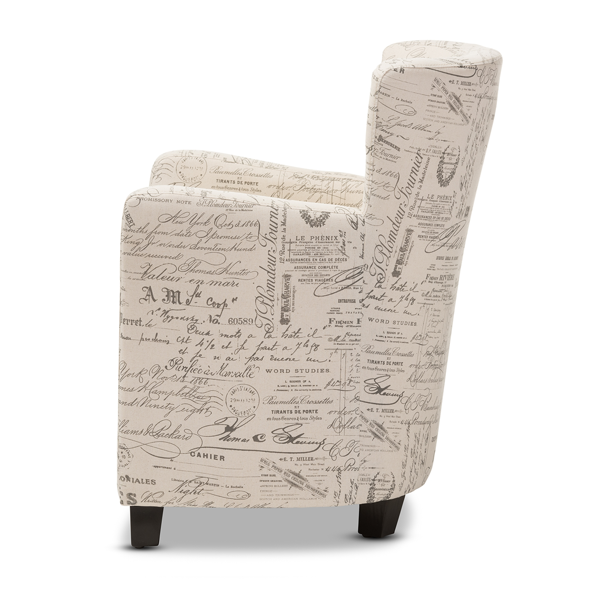 ... Baxton Studio Benson French Script Patterned Fabric Club Chair And  Ottoman Set   WS 0710 ...