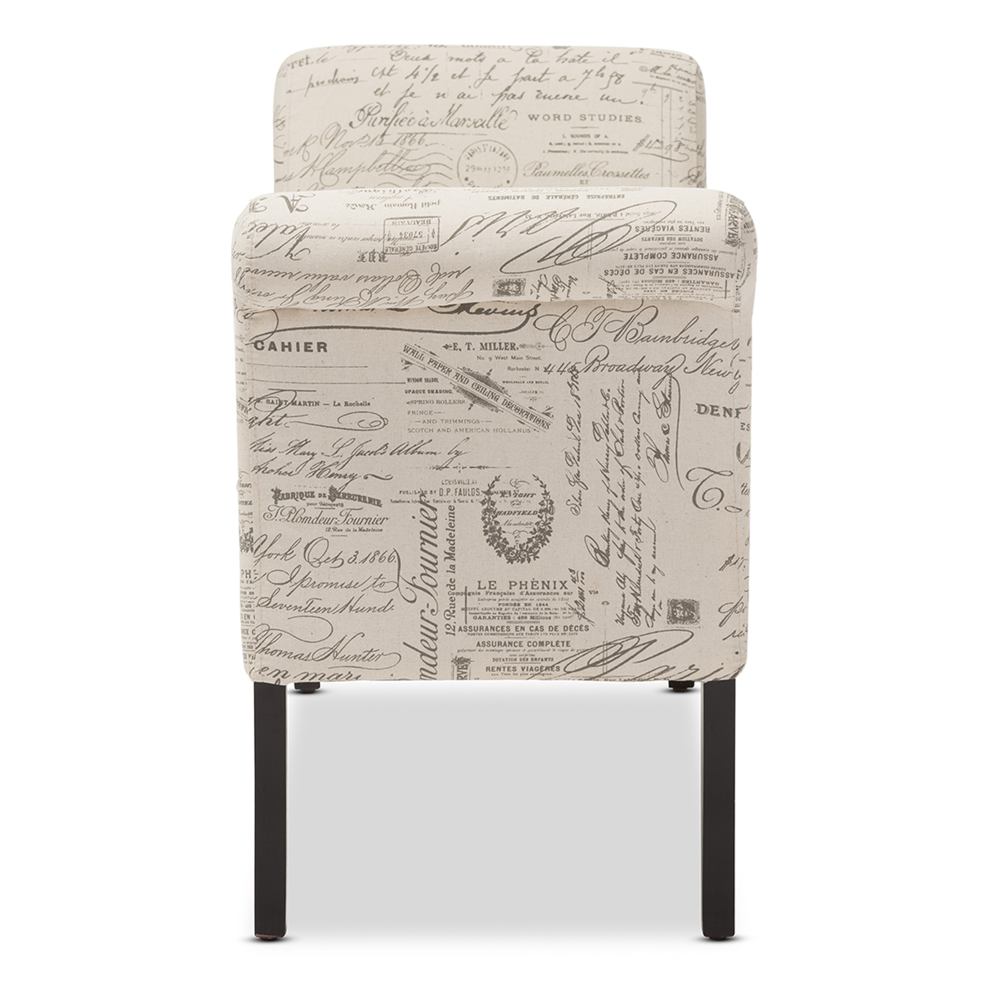 Charmant ... Baxton Studio Avignon Script Patterned French Laundry Fabric Storage  Ottoman Bench   WS 0819 ...