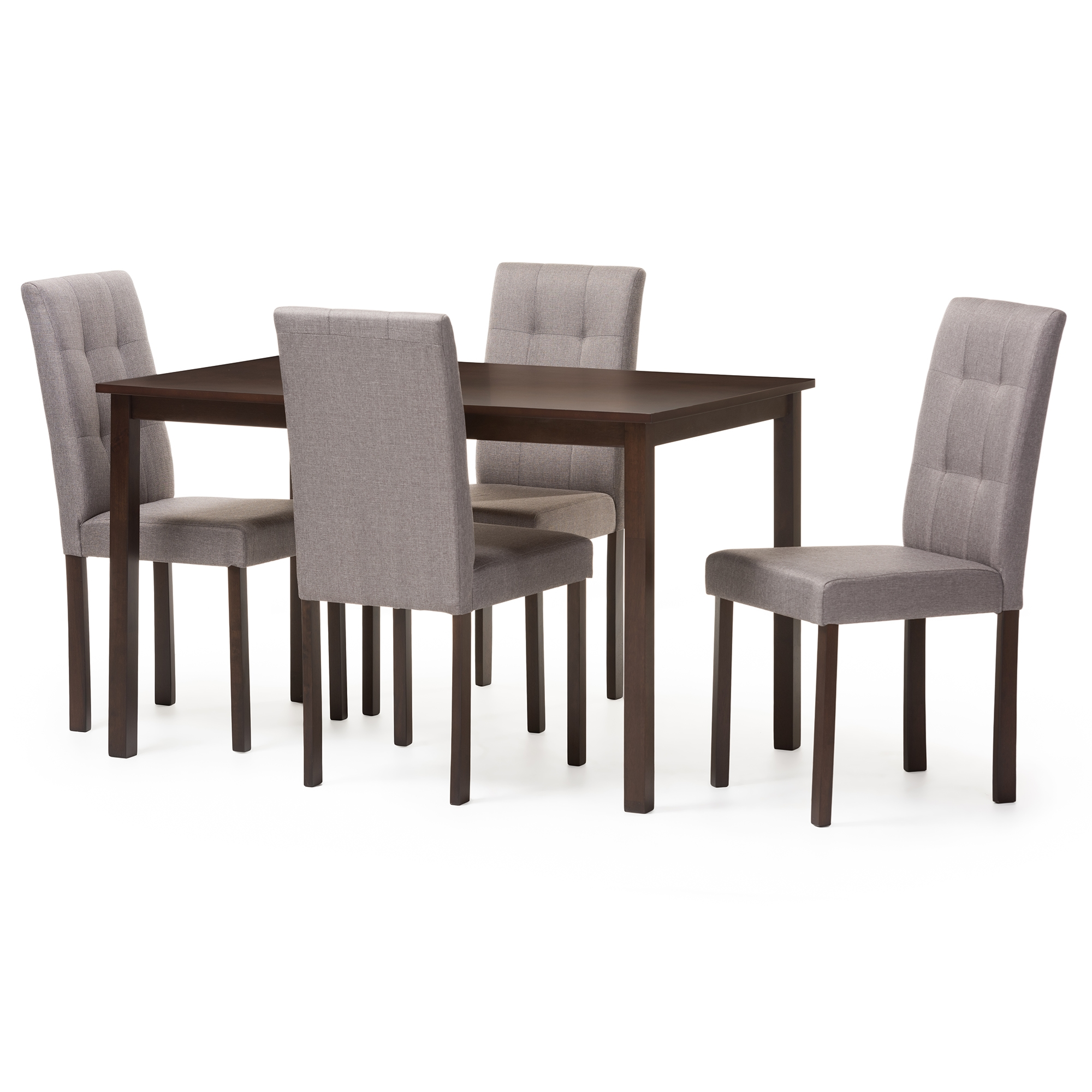 Baxton Studio Andrew Modern And Contemporary 5 Piece Grey Fabric  Upholstered Grid Tufting Dining ...