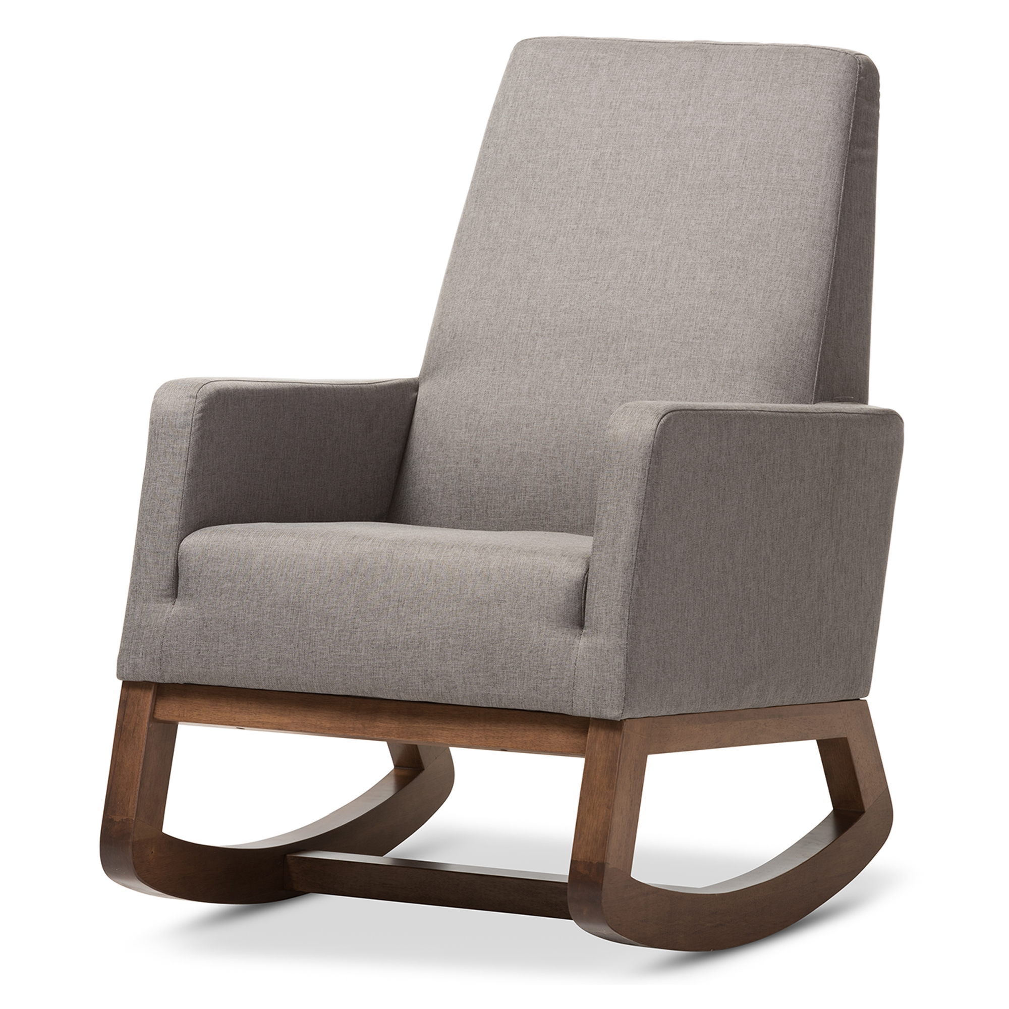retro modern furniture. Baxton Studio Yashiya Mid-century Retro Modern Grey Fabric Upholstered Rocking Chair - BBT5199- Furniture