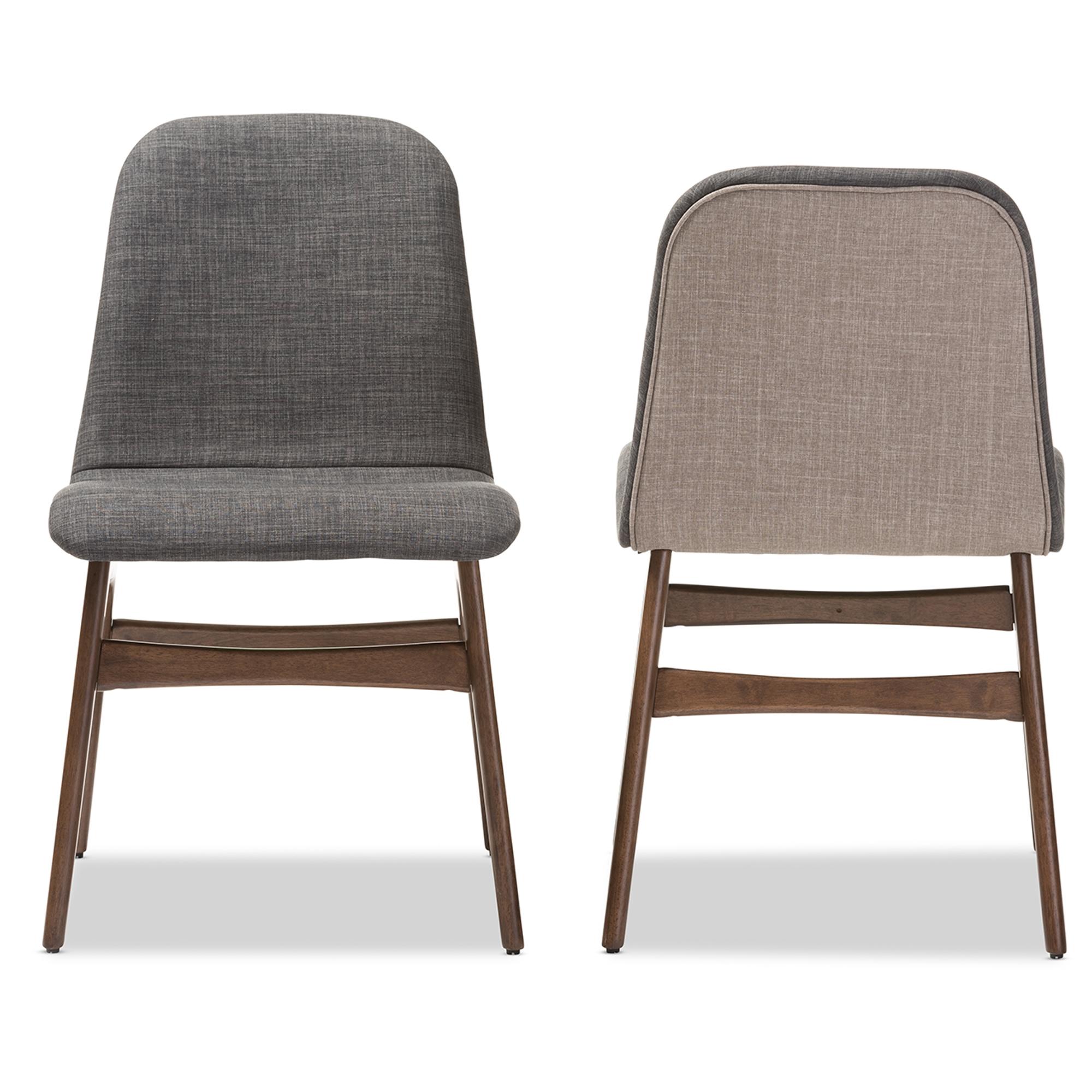 Baxton Studio Embrace Mid Century Retro Modern Scandinavian Style Dark Grey  Fabric Upholstered Walnut Wood ...