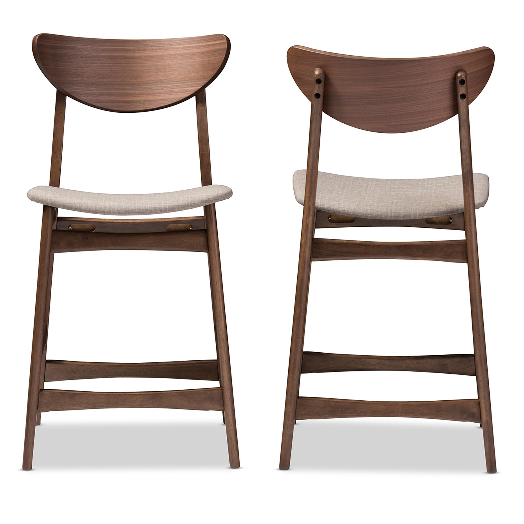 Baxton Studio Latina Mid Century Retro Modern Scandinavian Style Light Grey  Fabric Upholstered Walnut Wood
