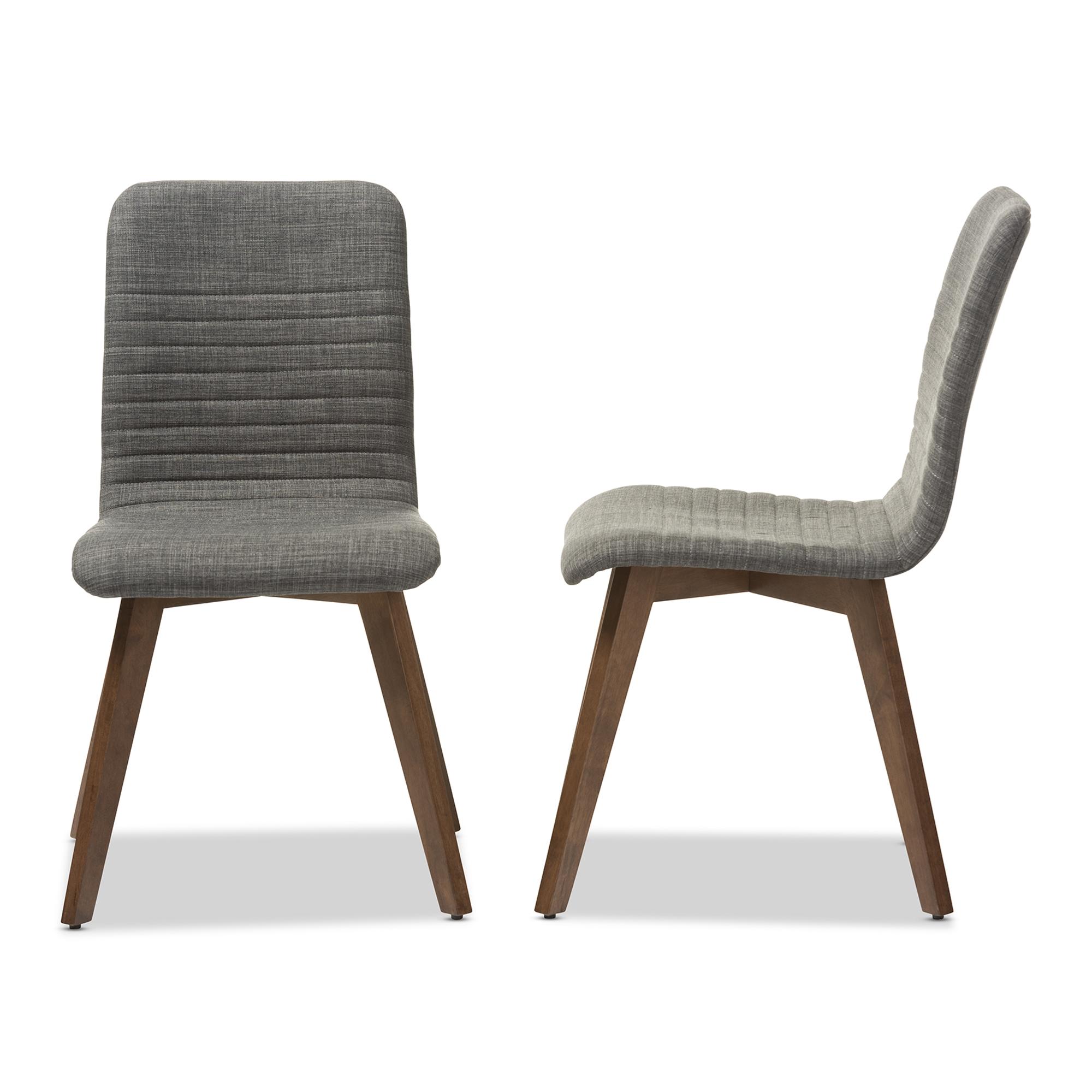 Baxton Studio Sugar Mid Century Retro Modern Scandinavian Style Dark Grey  Fabric Upholstered Walnut Wood ...