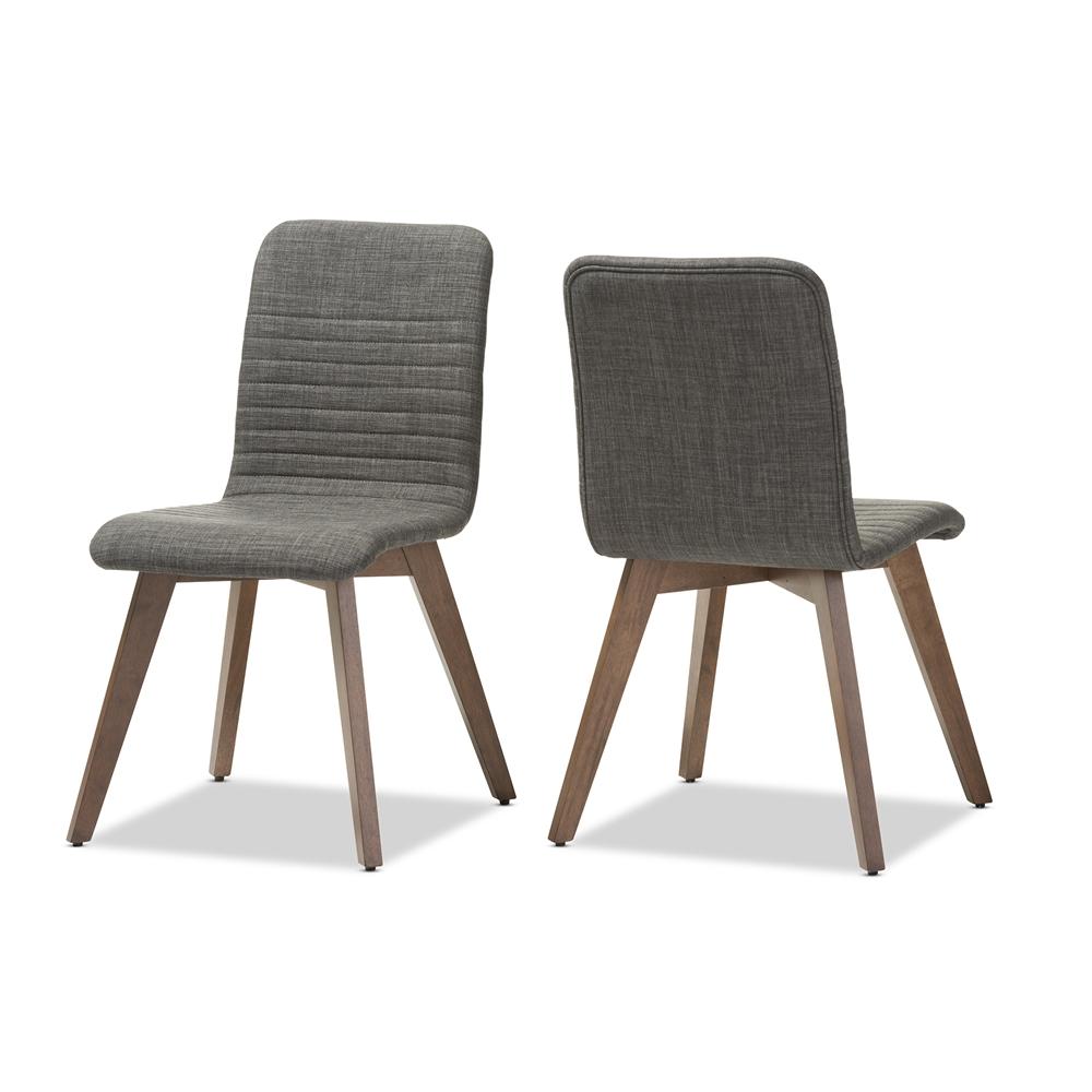 Baxton studio sugar mid century retro modern scandinavian style dark grey fabric upholstered walnut wood