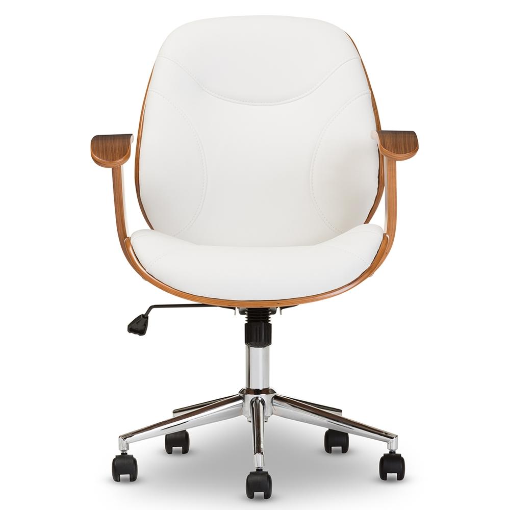 Baxton Studio Rathburn Modern And Contemporary White Walnut Office Chair Sd 2235