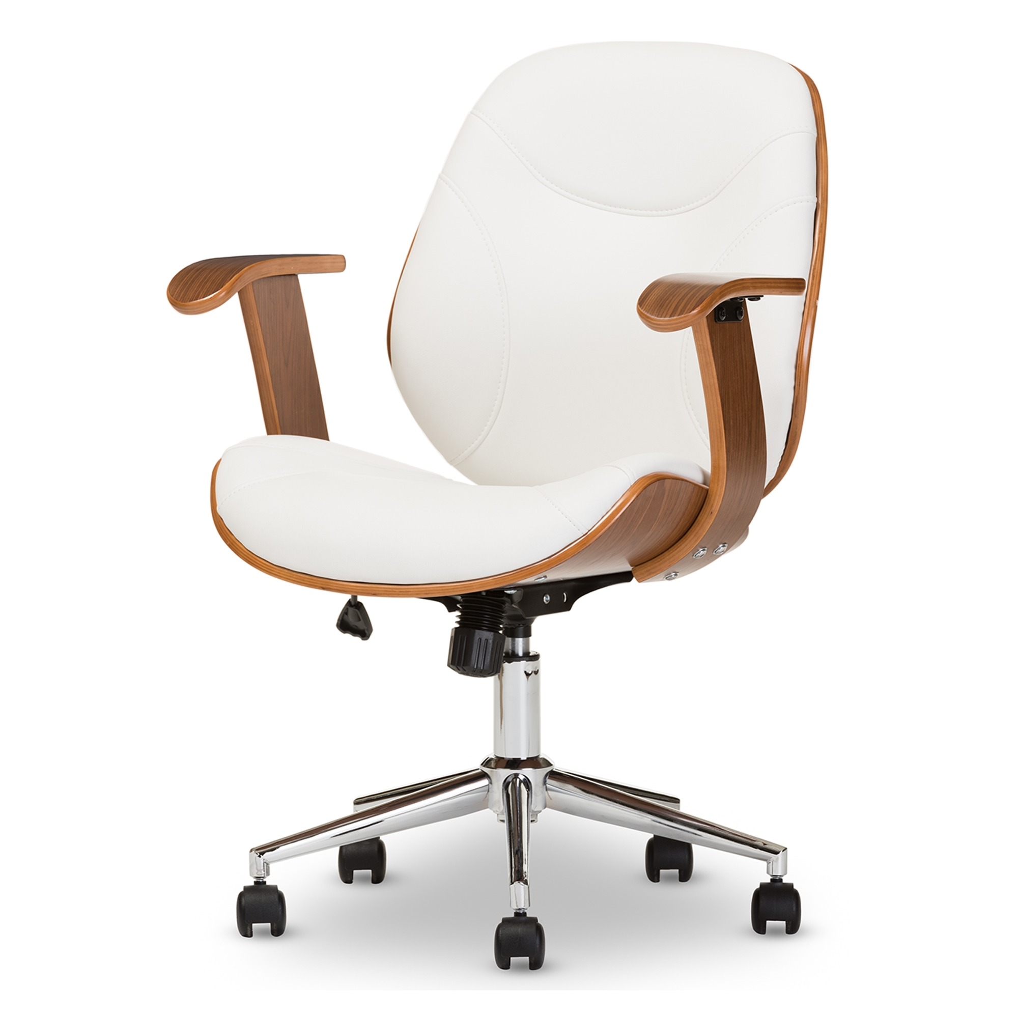 modern task chair. Baxton Studio Rathburn Modern And Contemporary White Walnut Office Chair - SD-2235- Task T